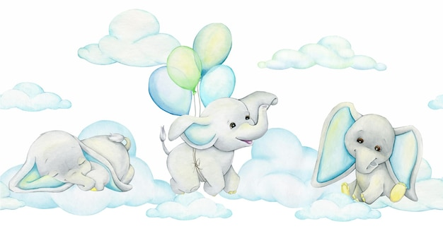 Elephants balloons watercolor seamless pattern in cartoon style on an isolated background