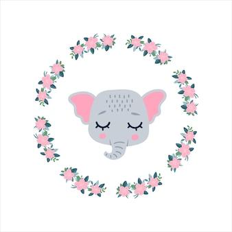 둥근 꽃 프레임에 눈을 감고 있는 코끼리 머리 얼굴 아이콘. 귀여운 만화 재미있는 캐릭터