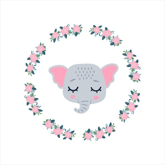 Elephants head face icon with closed eyes in a round frame of flowers. cute cartoon funny character