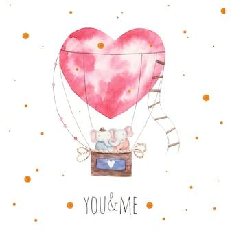 Слоны на воздушном шаре, открытка на день святого валентина