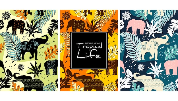 Elephants and leaves seamless pattern template