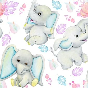 Elephants, leaves. seamless watercolor, pattern, on an isolated background.