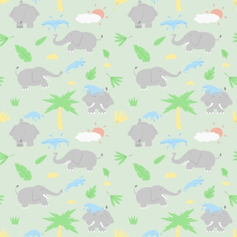 Elephants playing with water action cartoon design seamless pattern.
