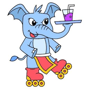 음료수를 제공하기 위해 안경을 든 코끼리 롤러 스케이팅, 낙서는 카와이를 그립니다. 벡터 일러스트 레이 션 아트
