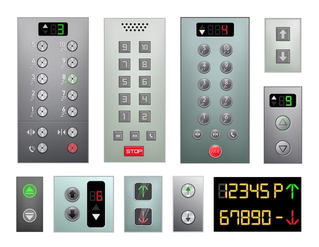 엘리베이터 버튼 패널 세트 흰색 배경에 고립