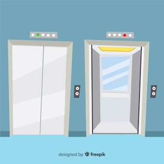 Elevator concept with open and closed door