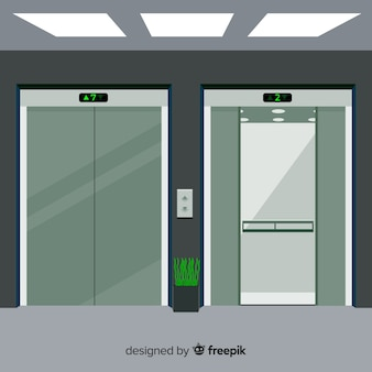 Elevator concept with open and closed door in flat design