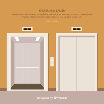 Elevator concept with open and closed door in flat style