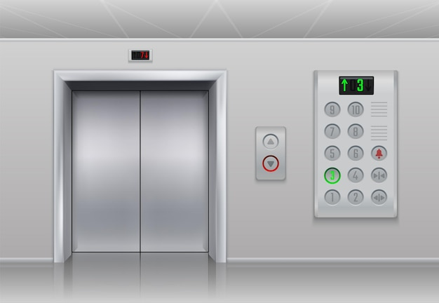Elevator doors and buttons. realistic cargo and passenger lift with metal doors, stainless steel