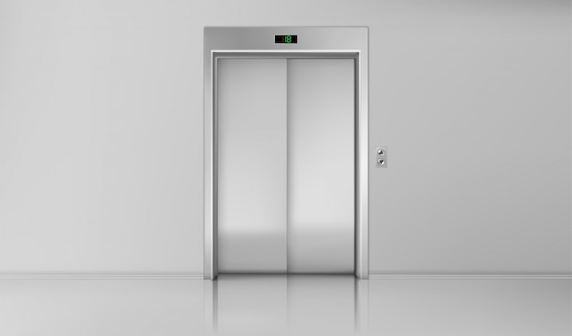 Elevator doors, close chrome lift cabin entrance