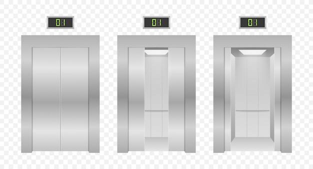 Двери лифта. закрытие и открытие лифта металлического в офисном здании. иллюстрации.
