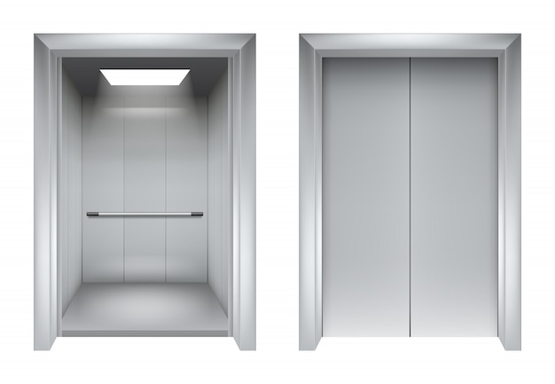 Elevator doors. closing and opening lift metallic in office building realistic 3d pictures