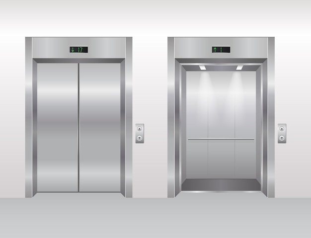 Elevator doors vector illustration flat empty modern office or hotel building interior realistic
