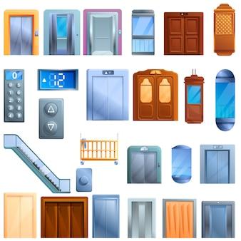 Elevator elements set, cartoon style