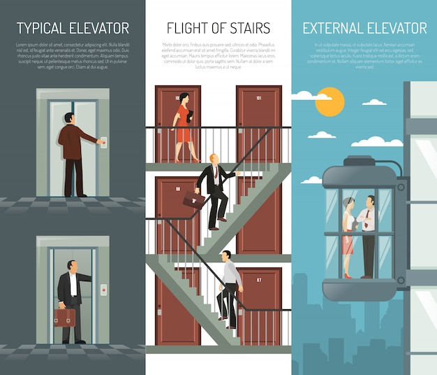 Elevator escalator stairs vertical banner set
