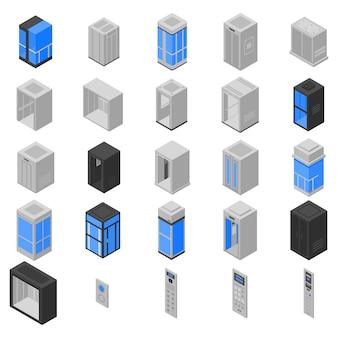 Elevator icons set, isometric style