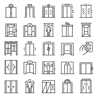 Elevator icons set, outline style