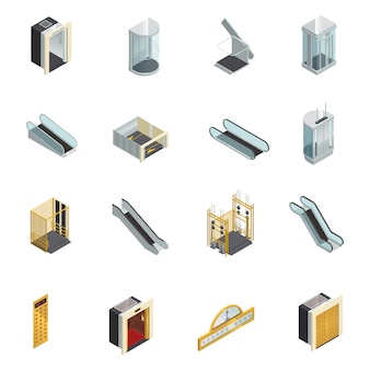 Elevator lift escalator isometric icons set
