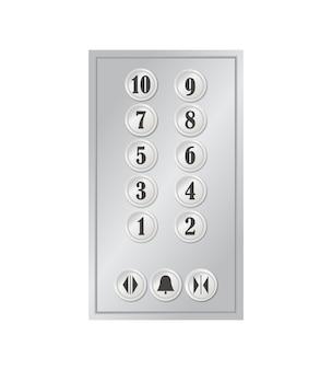 ホテル、住宅、オフィスビルの番号が付いたエレベーターまたはリフトボタンの金属パネル。