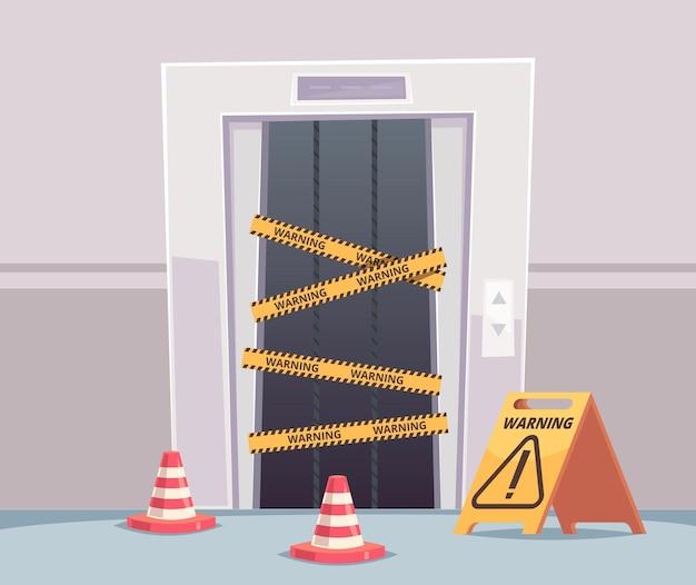 エレベーターの修理。建設中の閉じた破損したエレベーターのドアのある営業所
