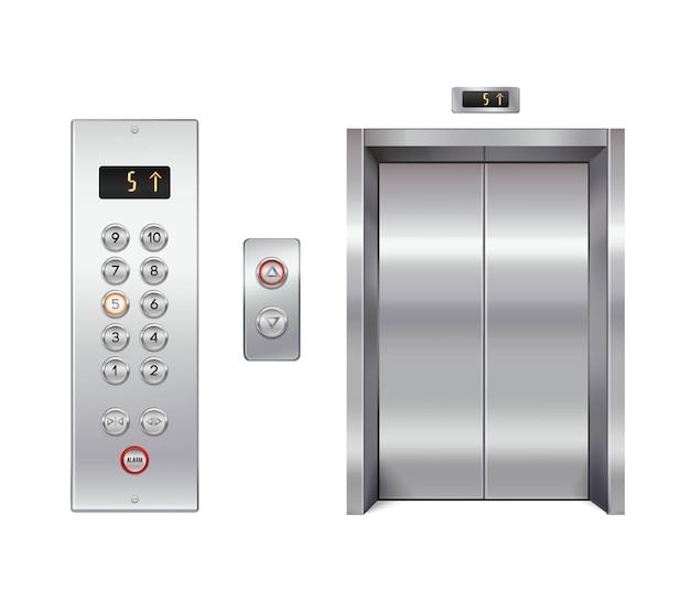 닫힌 문과 버튼 패널이있는 엘리베이터 세트