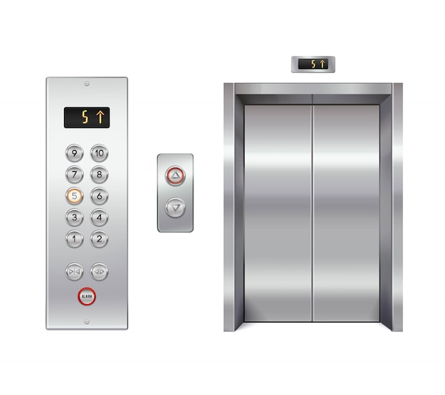 Elevator set with closed doors and button panel