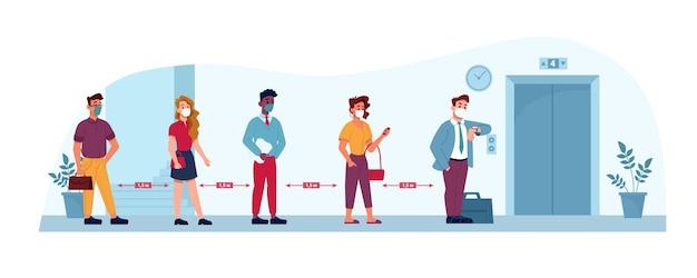Лифт социальной дистанции люди в масках
