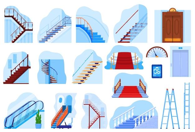 엘리베이터 계단 에스컬레이터 통로 계단 벡터 일러스트 레이 션 금속 이동 엘리베이터 계단의 현대 빈티지 하우스 인테리어 컬렉션