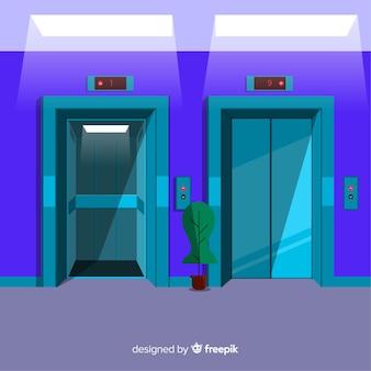 フラットデザインのオープンドアとクローズドドアを備えたエレベータ