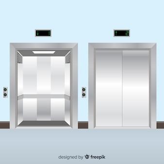 플랫 스타일의 개폐 도어가있는 엘리베이터