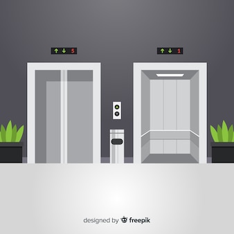 Elevator with open and closed door in flat design