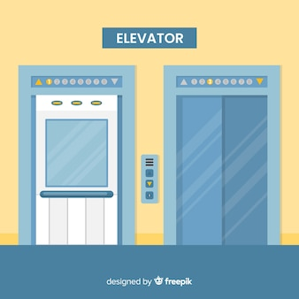 Elevator with open and closed door in flat design
