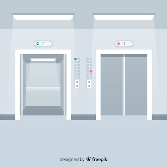 Elevator with open and closed door in flat style