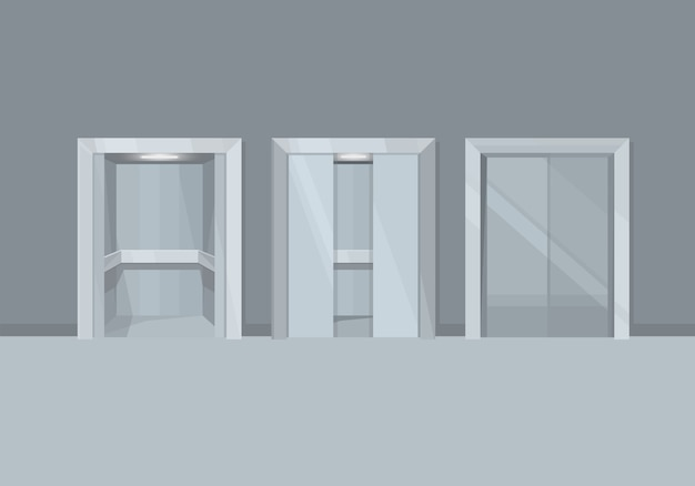 Elevator with open and closed doors.