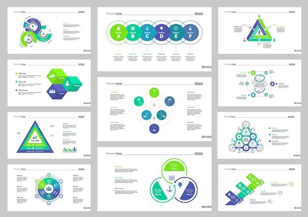 Eleven business slide templates set