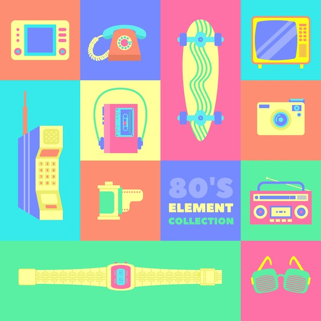 Eleven eighties elements with bright colors