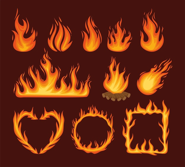 Eleven fire flames
