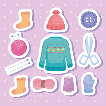 Eleven knitting icons