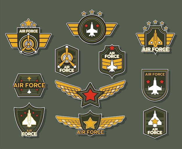 Eleven military emblems and medals