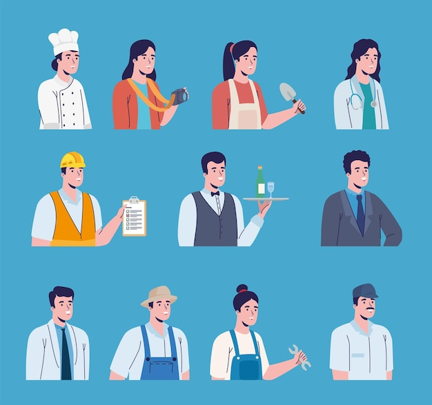 Eleven professions workers characters