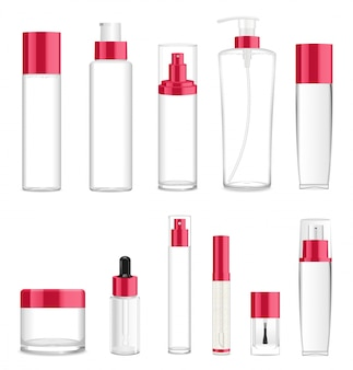 Eleven transparent different cosmetic bottles. place for text.