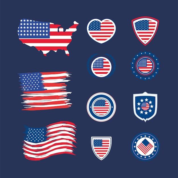 Eleven usa flag set icons