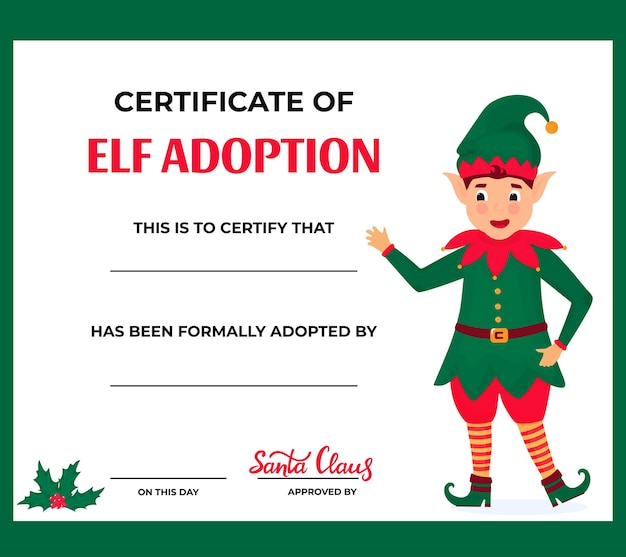 Elf adoption certificate for boys and girls.