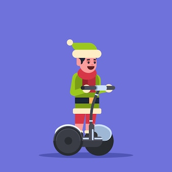 Elf boy santa claus helper ride electric scooter merry christmas holiday new year concept flat