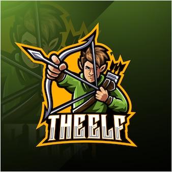 Elf esport талисман дизайн логотипа