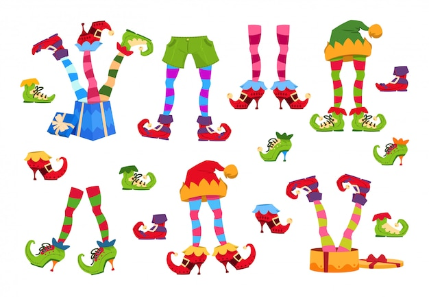 Elf feet. elves foot in shoes and hat. christmas dwarf leg in pants with santa gifts isolated set