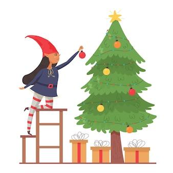 엘프 소녀는 크리스마스 트리를 장식합니다. 크리스마스 장식으로 장식합니다. 좋은 새해 정신. 현대 벡터 평면 그림
