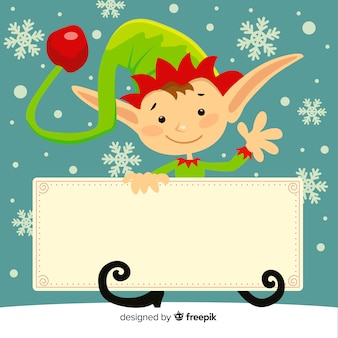 Elf holding blank sign background