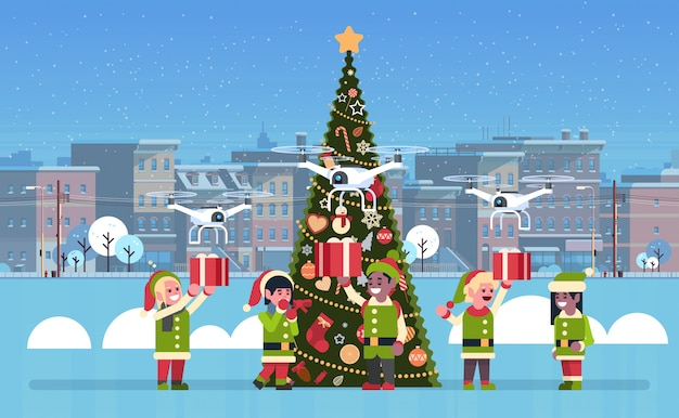 Elf holding gift box present drone delivery service christmas