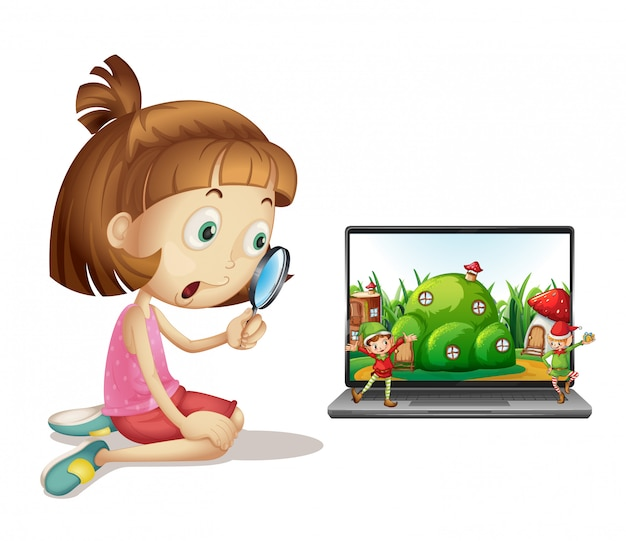 Elf on laptop background